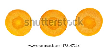 Round slices of carrots isolated over white background, set of three - stock photo