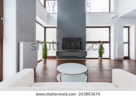 Round small table in luxury drawing room - stock photo