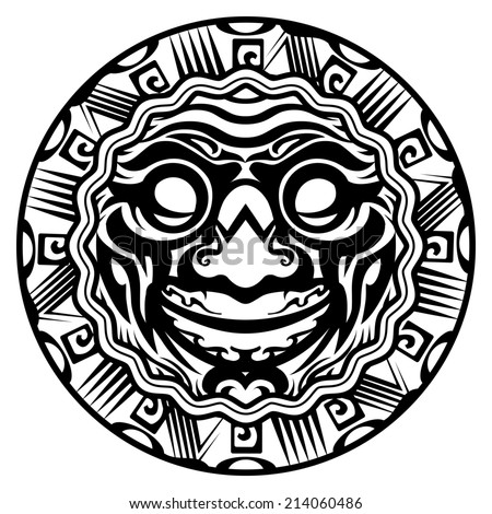 Round Smiling Face Polynesian Tattoo Isolated White Background