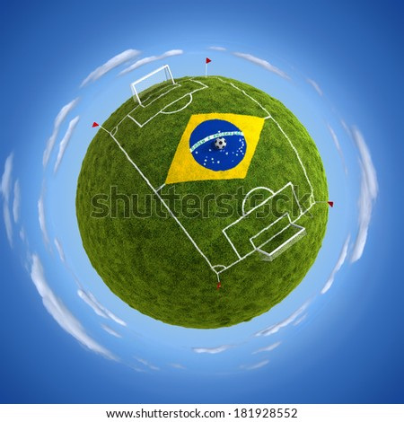 Round soccer stadium with Brazil flag in the middle - stock photo