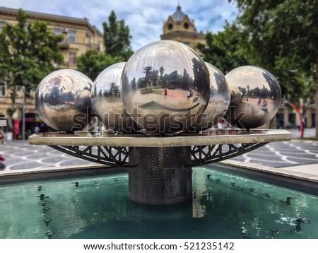 Round Sphere Fountain. Fountain Valley. Water Fountain. Water Source. Water  Fountain Isolated