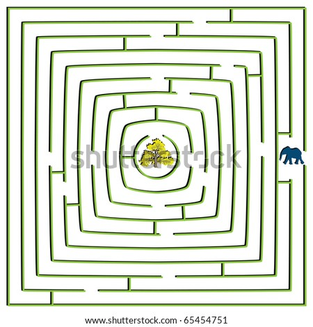 round square maze with elephant and tree, abstract art illustration; for vector format please visit my gallery - stock photo