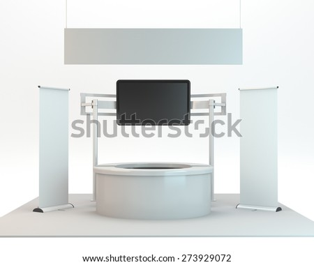 round stand design in exhibition with big tv display. 3D rendering - stock photo