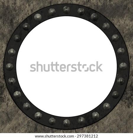 Round steampunk frame - stock photo