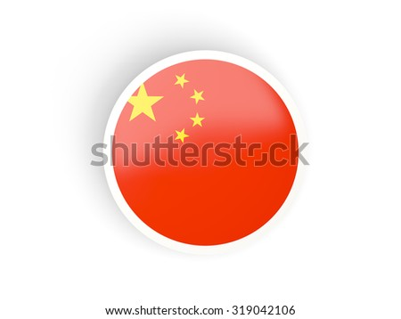Round sticker with flag of china isolated on white - stock photo