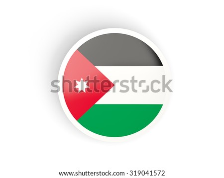 Round sticker with flag of jordan isolated on white