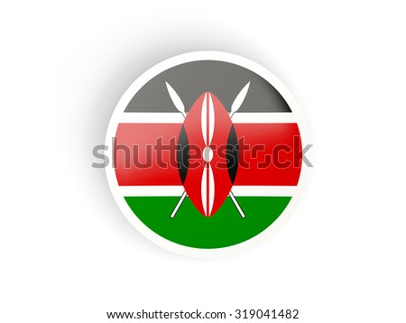 Round sticker with flag of kenya isolated on white