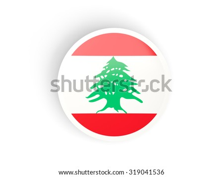 Round sticker with flag of lebanon isolated on white