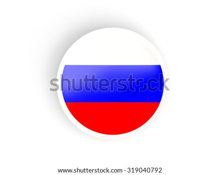 Round sticker with flag of russia isolated on white - stock photo