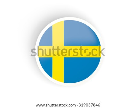 Round sticker with flag of sweden isolated on white - stock photo