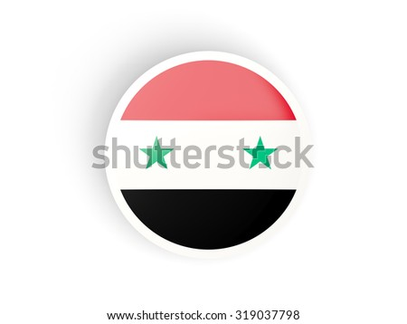 Round sticker with flag of syria isolated on white