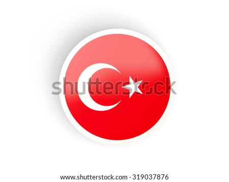Round sticker with flag of turkey isolated on white - stock photo