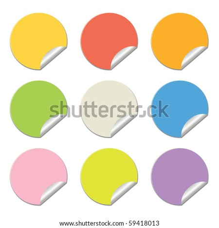 round stickers in different colors isolated on white, clip art illustration - stock photo