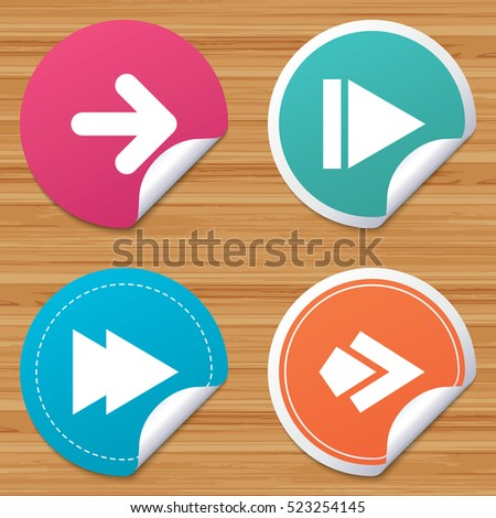 Round stickers or website banners arrow icons next navigation arrowhead signs direction symbols