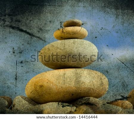 Round stones for meditation - Vintage background - stock photo