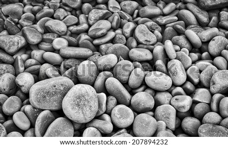 Round stones on beach, monochrome - stock photo