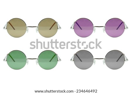 Round sunglasses collection isolated on white backogrund, Sunglasses photo set, Colorful sunglasses.  - stock photo