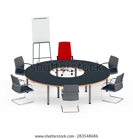 round table for negotiations with a red chair of the director and a board for presentation - stock photo
