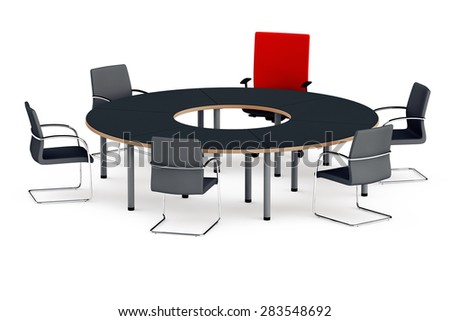 round table for negotiations with chairs, one red chair of the leader