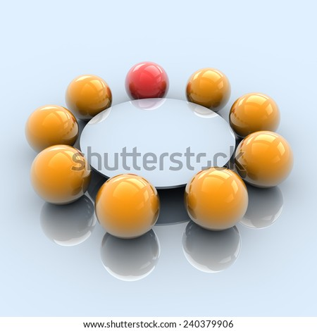 Round Table Meeting With Boss, 3D Illustration - stock photo