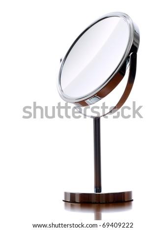 Round table mirror on a white background. - stock photo