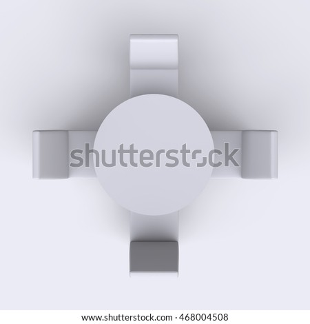Round Table With Chairs On White Empty Floor Background Top View 3d Render