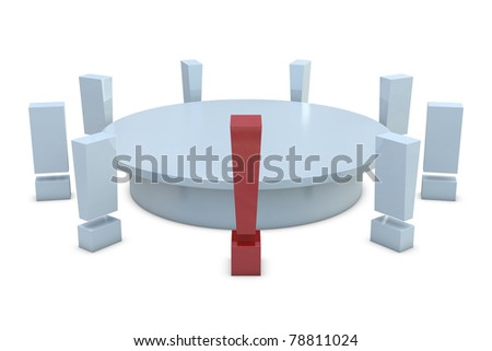 Round table with red and group of white exclamation marks isolated on white background