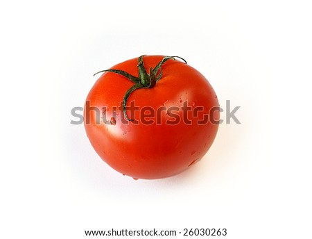 Round tomato on white background - stock photo