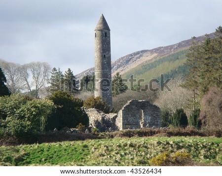 Round tower Glendalough, Wicklow Mountains, Ireland - stock photo