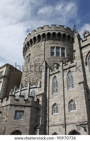 Round tower of Dublin Castle in Ireland - stock photo