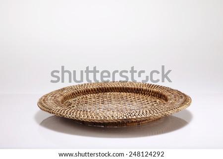 round tray on the white background - stock photo