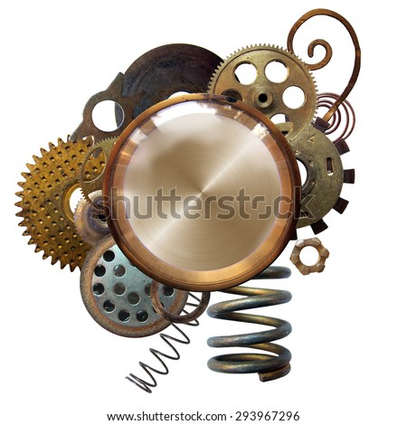 Round vignette with metal details - stock photo