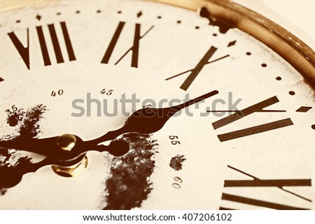 Round vintage wall clock, close up - stock photo