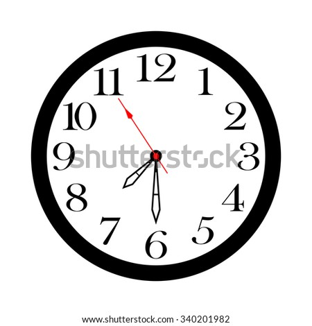 Round wall clock on a white background. It is isolated, the worker of paths is present.
