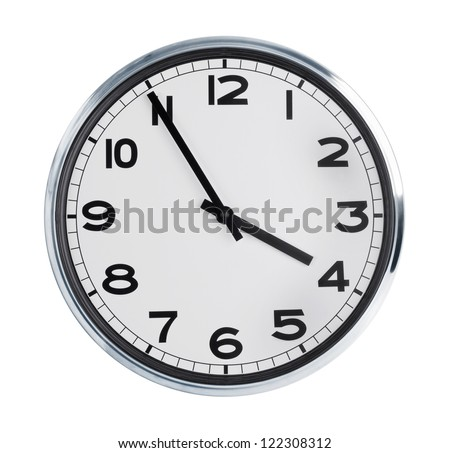 Round wall clock on a white background show four pm - stock photo