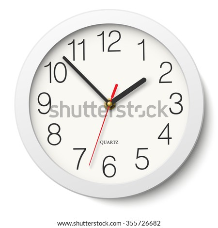 Round wall clock without divisions in white body - stock photo
