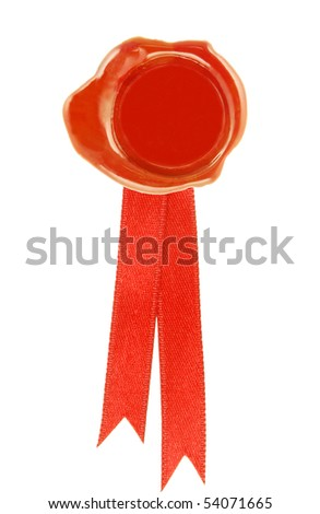 round wax seal red with a red ribbon - stock photo