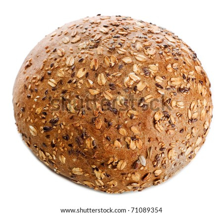 round White baked bread roll soft fresh with a crisp poured by a sesame and oatsflakes isolated on a white background - stock photo