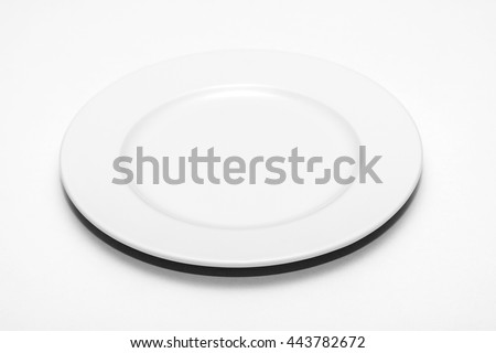 Round white plate on white background