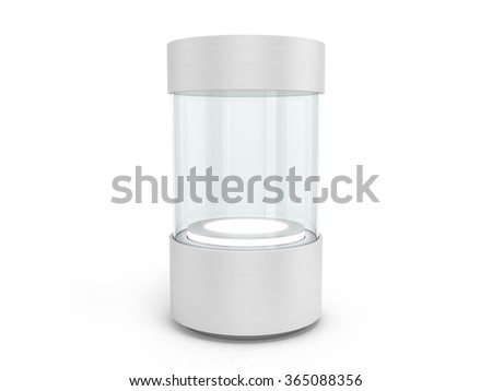 round white Showcases with a pedestal with lighting inside - stock photo
