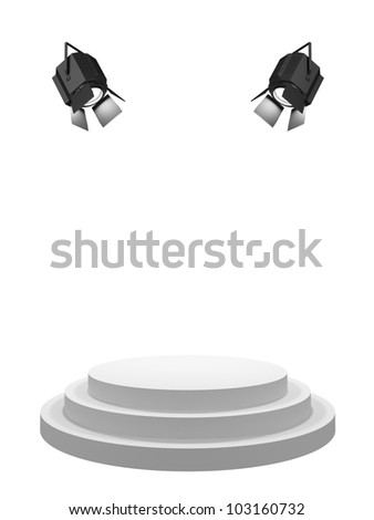 Round white stage, shined with searchlights. Isolated on a white background. - stock photo