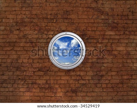 Round window, brick wall - stock photo