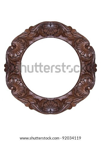 Round wooden carved frame over a white background - stock photo