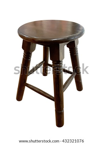 Round wooden chair without a backrest isolated on white background,clipping path - stock photo