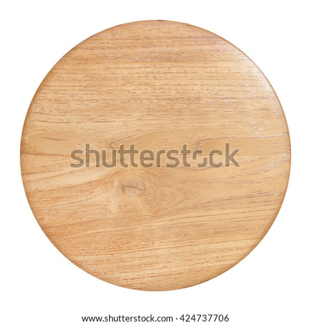 round wooden cutting Board isolated on white background. - stock photo