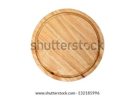 Round wooden cutting board on white background - stock photo