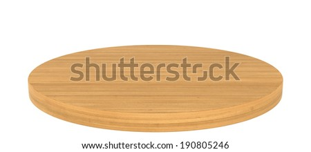 Round wooden shelves isolated on white. empty. realistic wood