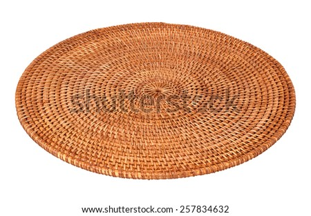 Round Woven Placemat isolated on white. The image is in full focus, front to back. - stock photo