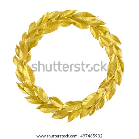 Round Wreath from golden leaves isolated on white background. Useful for holiday invitation, decorative design etc.