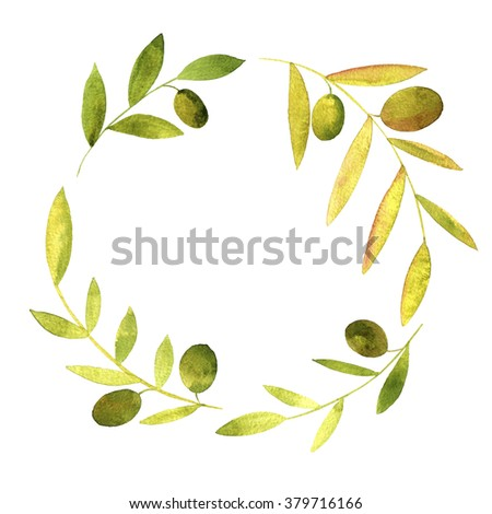 round wreath with watercolor green branches of olives, floral frame,hand drawn template - stock photo